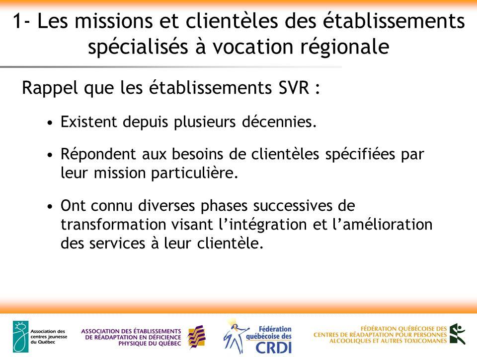1- Les missions et clientèles des établissements spécialisés à vocation régionale Rappel que les établissements SVR : Existent depuis plusieurs décennies.