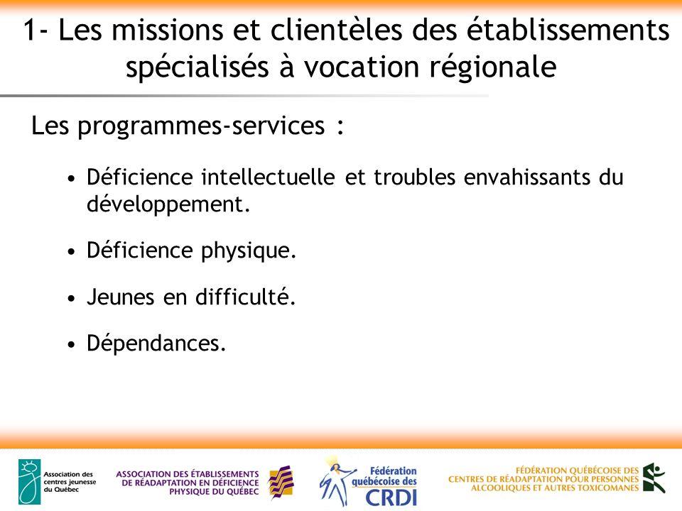 1- Les missions et clientèles des établissements spécialisés à vocation régionale Les programmes-services : Déficience intellectuelle et troubles envahissants du développement.