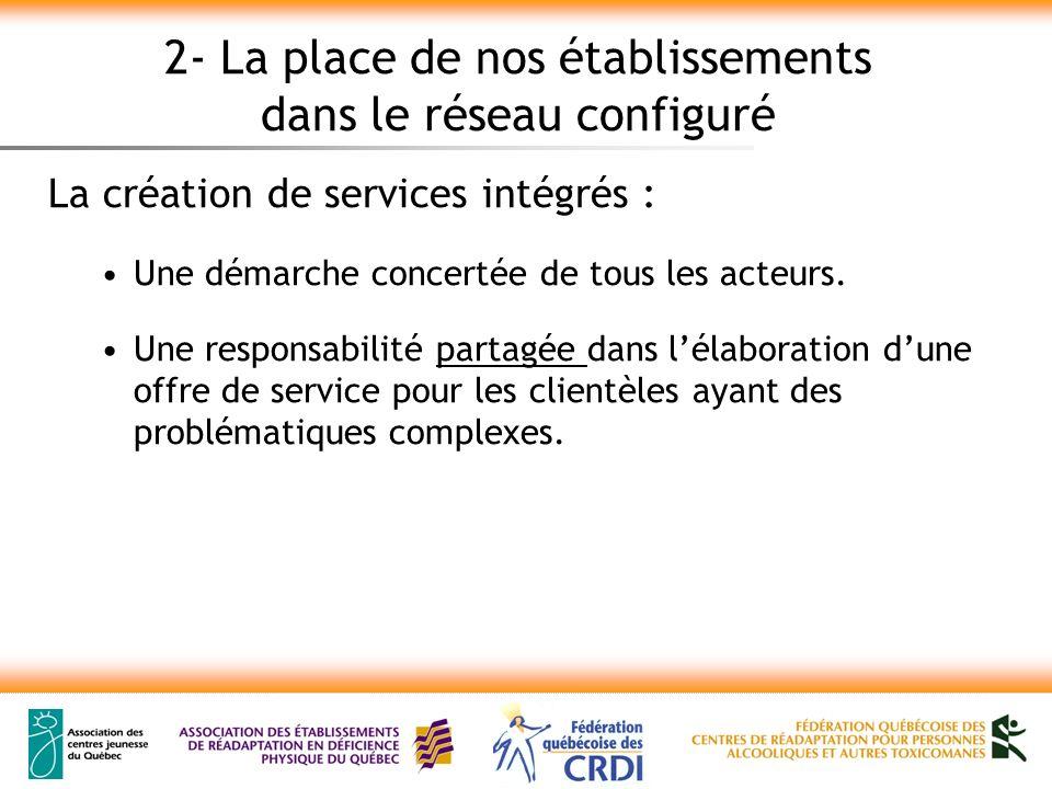 2- La place de nos établissements dans le réseau configuré La création de services intégrés : Une démarche concertée de tous les acteurs.