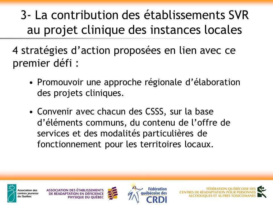 3- La contribution des établissements SVR au projet clinique des instances locales 4 stratégies daction proposées en lien avec ce premier défi : Promouvoir une approche régionale délaboration des projets cliniques.