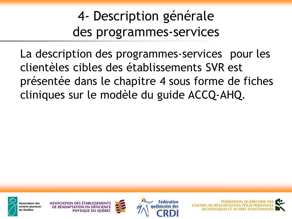 4- Description générale des programmes-services La description des programmes-services pour les clientèles cibles des établissements SVR est présentée dans le chapitre 4 sous forme de fiches cliniques sur le modèle du guide ACCQ-AHQ.