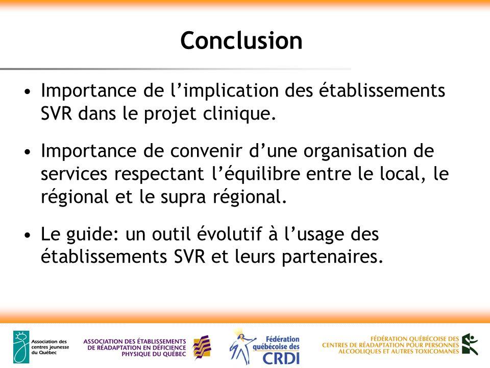 Conclusion Importance de limplication des établissements SVR dans le projet clinique.