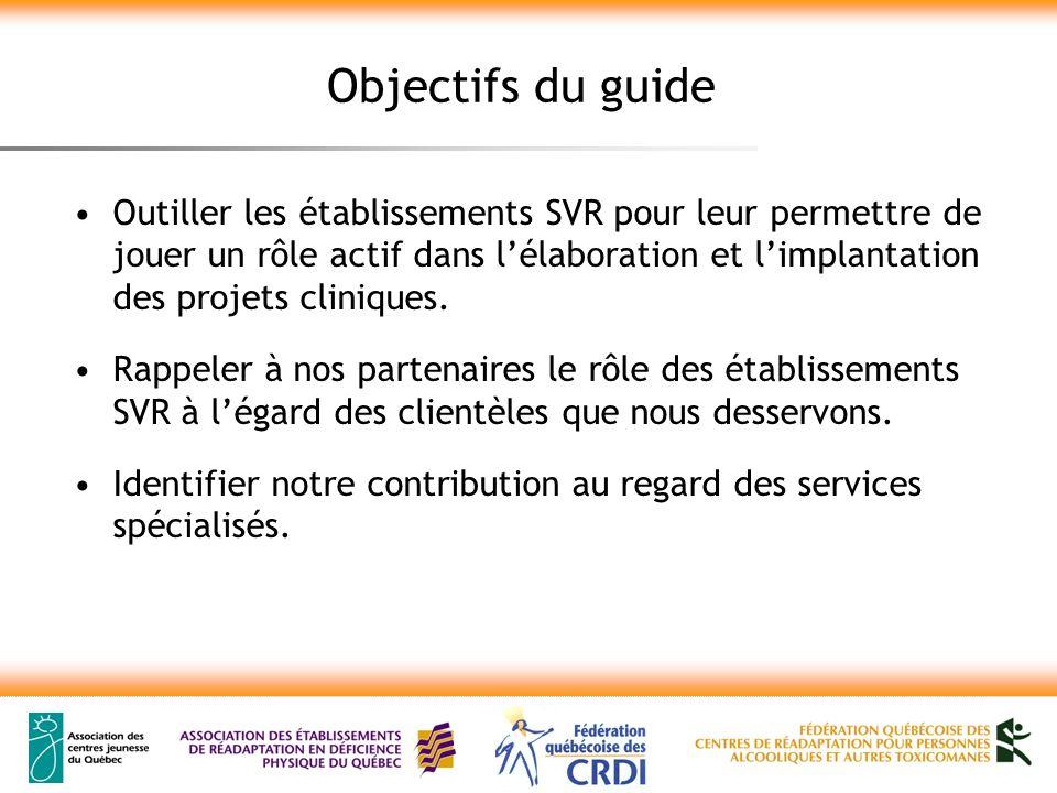 Principes à la base de lélaboration du guide Présenter une vision commune de la contribution des établissements SVR.
