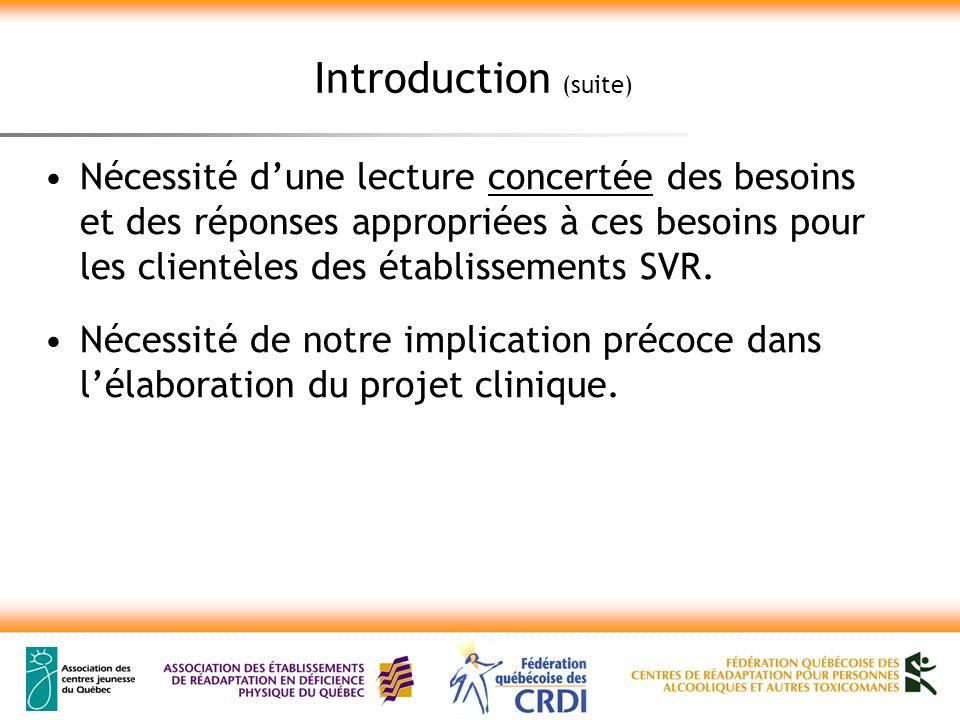 Introduction (suite) Nécessité dune lecture concertée des besoins et des réponses appropriées à ces besoins pour les clientèles des établissements SVR.