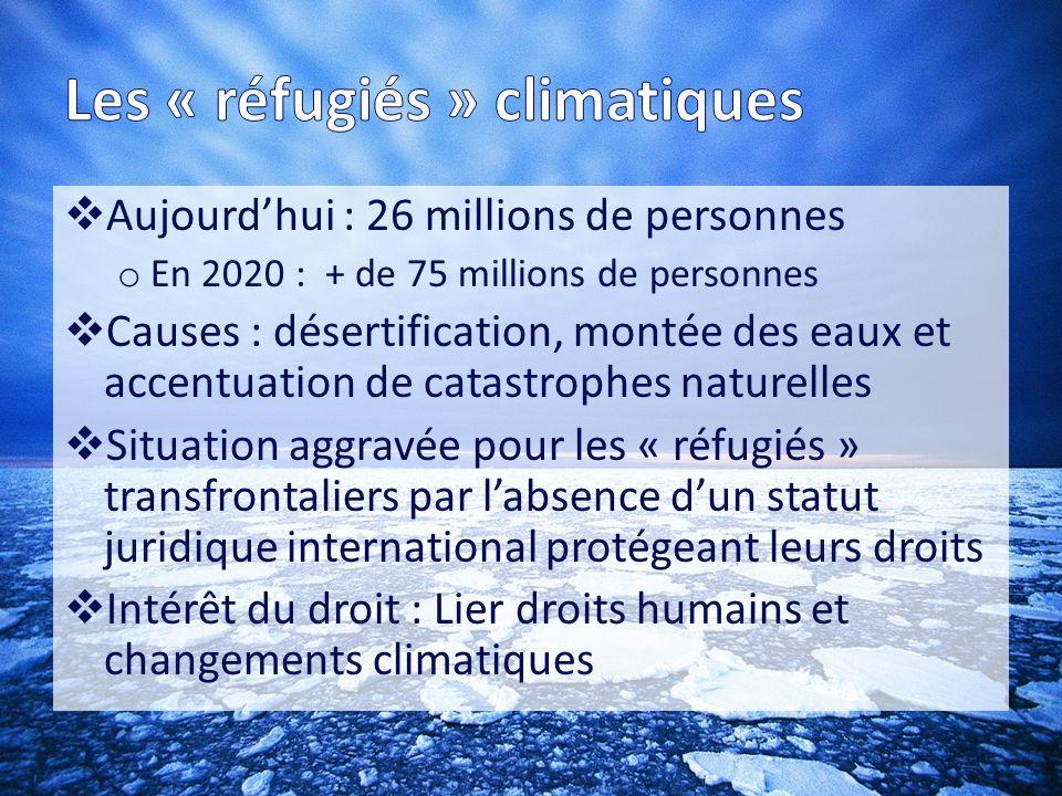 Absence de définition et de statut pour les « réfugiés » climatiques Protection juridique o Convention de Genève sur les réfugiés et le droit humanitaire sont inapplicables o Droit de lenvironnement ne prend pas en compte cette question o Convention de lOUA (art.