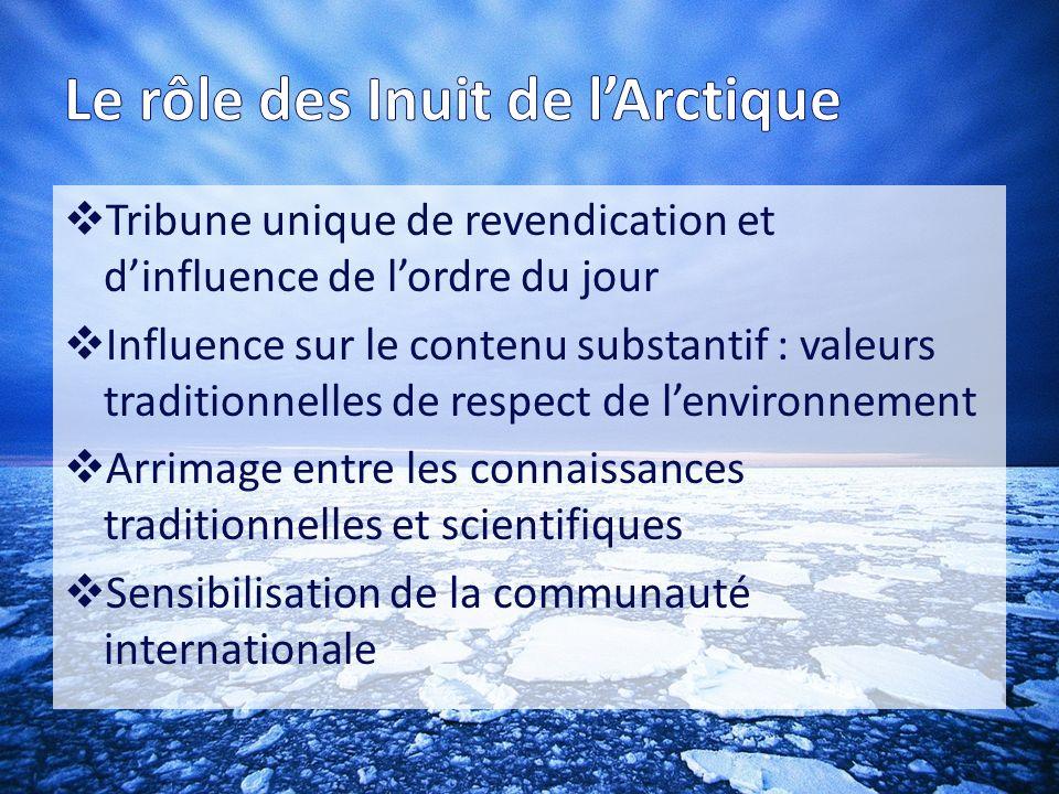 Sur le rôle des Inuit de lArctique Trois axes de recherches : o Redéfinition de la portée du concept dÉtat-nation o Un droit international qui protège les humains, pas le marché o Des droits humains qui représentent les intérêts de la vaste majorité