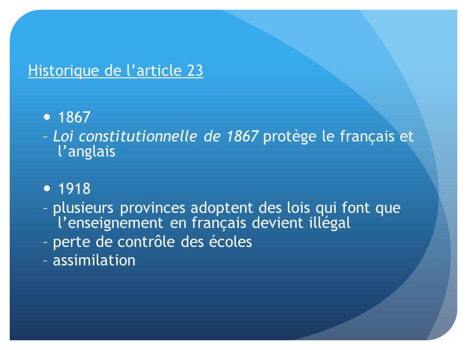 1969 – gouvernement fédéral adopte la Loi sur les langues officielles 1976 – élection du Parti Québécois 1980 – premier référendum sur lindépendance du Québec (40 % dappui)