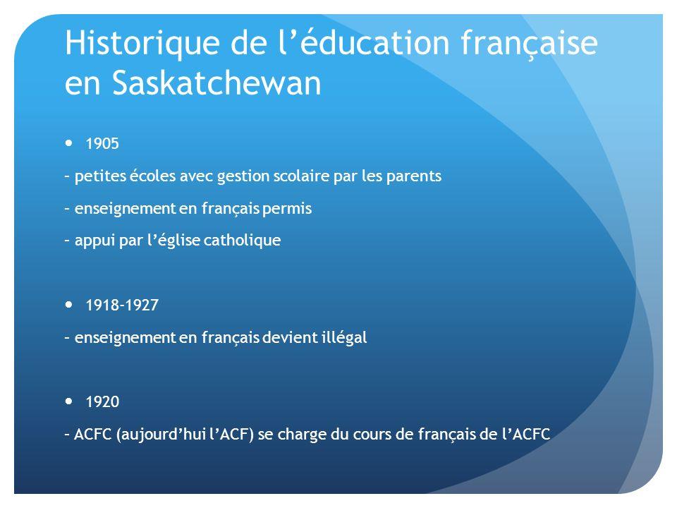 1940-1960 – centralisation des écoles dans des grandes commissions scolaires anglophones – perte de gestion par les francophones 1970 – loi scolaire permet les écoles désignées – phénomène des écoles dimmersion 1978 – loi scolaire permet les écoles désignées Types A et B – Type A devait être pour les francophones