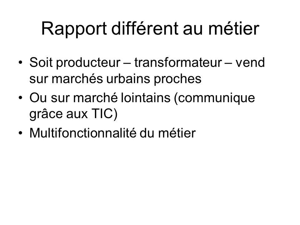 Rapport différent au métier Soit producteur – transformateur – vend sur marchés urbains proches Ou sur marché lointains (communique grâce aux TIC) Multifonctionnalité du métier