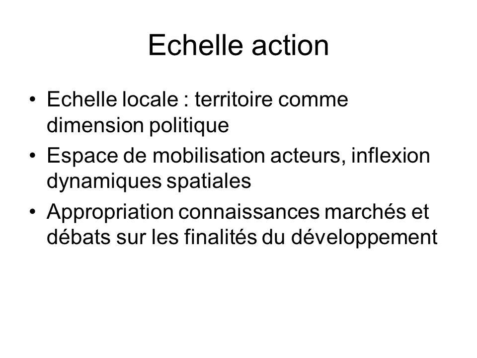 Echelle action Echelle locale : territoire comme dimension politique Espace de mobilisation acteurs, inflexion dynamiques spatiales Appropriation connaissances marchés et débats sur les finalités du développement