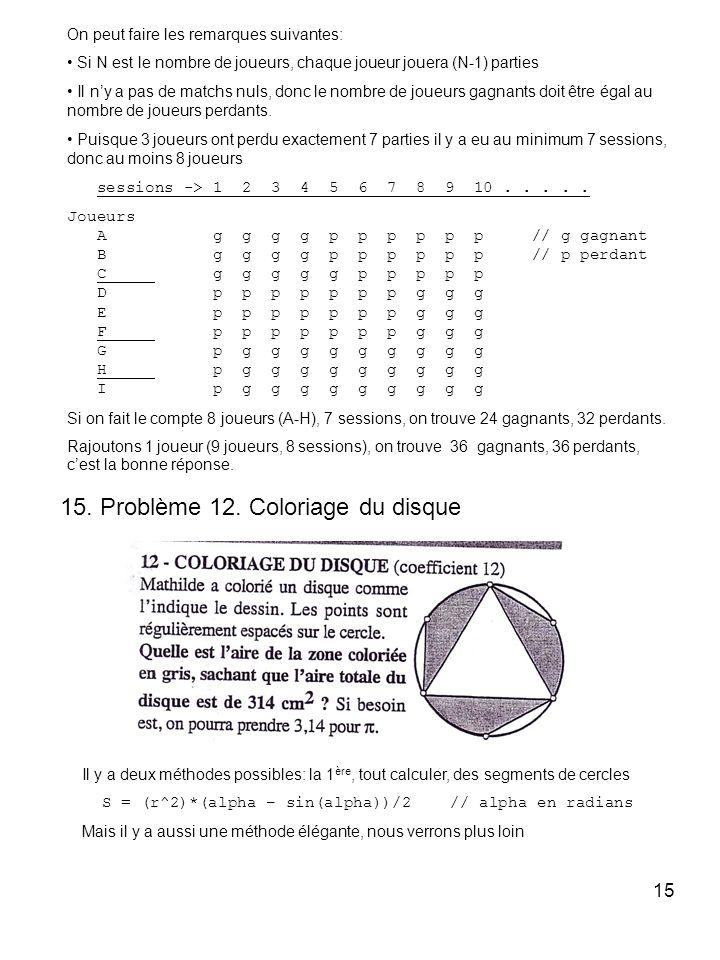 15 On peut faire les remarques suivantes: Si N est le nombre de joueurs, chaque joueur jouera (N-1) parties Il ny a pas de matchs nuls, donc le nombre