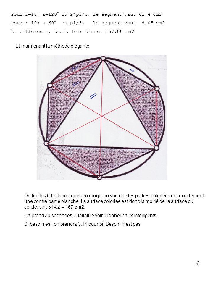 16 Pour r=10; a=120° ou 2*pi/3, le segment vaut 61.4 cm2 Pour r=10; a=60° ou pi/3, le segment vaut 9.05 cm2 La différence, trois fois donne: 157.05 cm