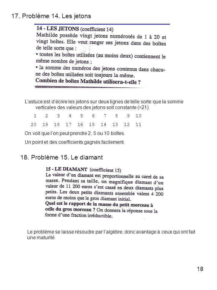 18 17. Problème 14. Les jetons Lastuce est décrire les jetons sur deux lignes de telle sorte que la somme verticales des valeurs des jetons soit const