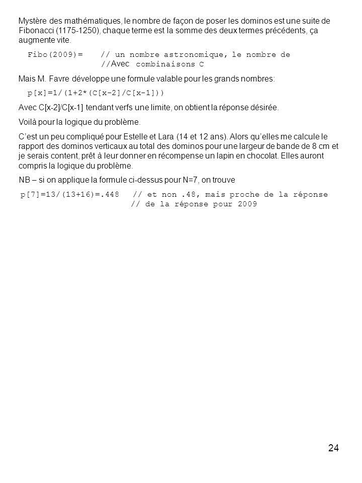 24 Mystère des mathématiques, le nombre de façon de poser les dominos est une suite de Fibonacci (1175-1250), chaque terme est la somme des deux terme