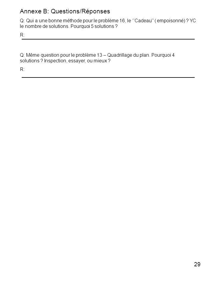 29 Annexe B: Questions/Réponses Q: Qui a une bonne méthode pour le problème 16, le Cadeau ( empoisonné) ? YC le nombre de solutions. Pourquoi 5 soluti