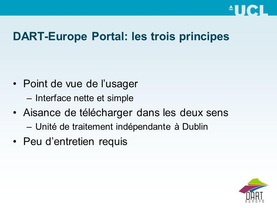 DART-Europe Portal: les trois principes Point de vue de lusager –Interface nette et simple Aisance de télécharger dans les deux sens –Unité de traitement indépendante à Dublin Peu dentretien requis