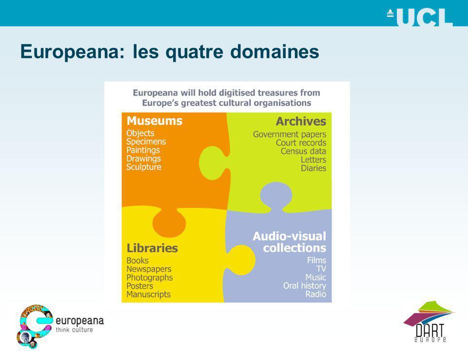 Europeana: les quatre domaines