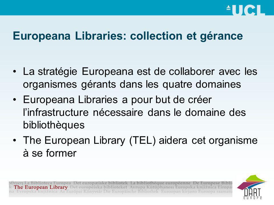 Europeana Libraries: collection et gérance La stratégie Europeana est de collaborer avec les organismes gérants dans les quatre domaines Europeana Libraries a pour but de créer linfrastructure nécessaire dans le domaine des bibliothèques The European Library (TEL) aidera cet organisme à se former