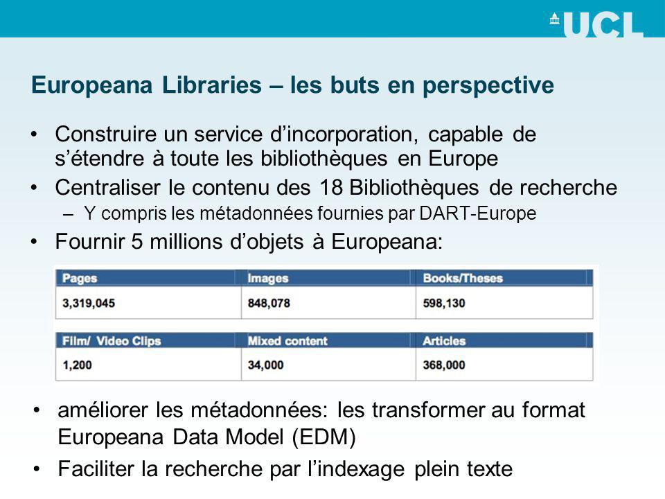 Europeana Libraries – les buts en perspective Construire un service dincorporation, capable de sétendre à toute les bibliothèques en Europe Centraliser le contenu des 18 Bibliothèques de recherche –Y compris les métadonnées fournies par DART-Europe Fournir 5 millions dobjets à Europeana: améliorer les métadonnées: les transformer au format Europeana Data Model (EDM) Faciliter la recherche par lindexage plein texte