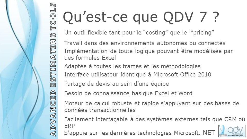 Quest-ce que QDV 7 ? Un outil flexible tant pour le costing que le pricing Implémentation de toute logique pouvant être modélisée par des formules Exc