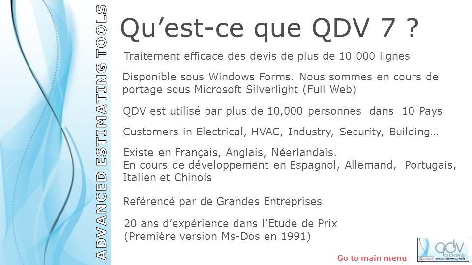 QDV est utilisé par plus de 10,000 personnes dans 10 Pays Existe en Français, Anglais, Néerlandais. En cours de développement en Espagnol, Allemand, P
