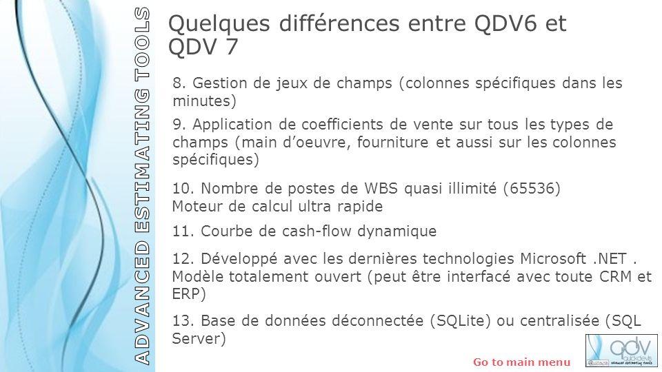 Quelques différences entre QDV6 et QDV 7 Go to main menu 13. Base de données déconnectée (SQLite) ou centralisée (SQL Server) 12. Développé avec les d