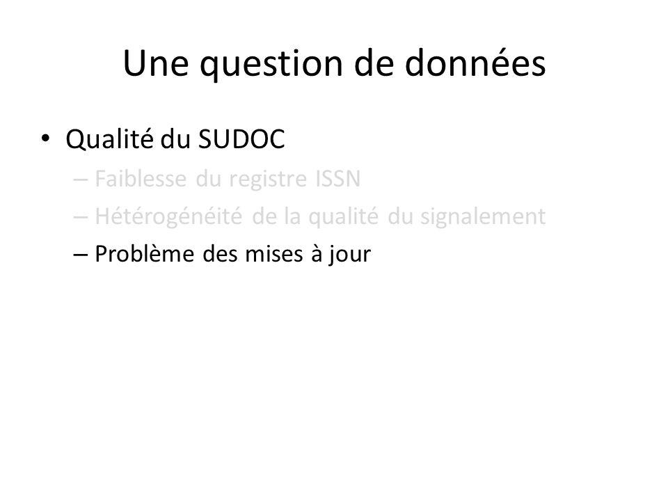 Une question de données Qualité du SUDOC – Faiblesse du registre ISSN – Hétérogénéité de la qualité du signalement – Problème des mises à jour