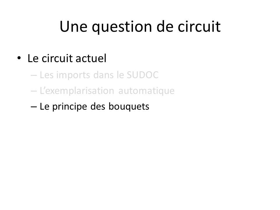 Une question de circuit Le circuit actuel – Les imports dans le SUDOC – Lexemplarisation automatique – Le principe des bouquets