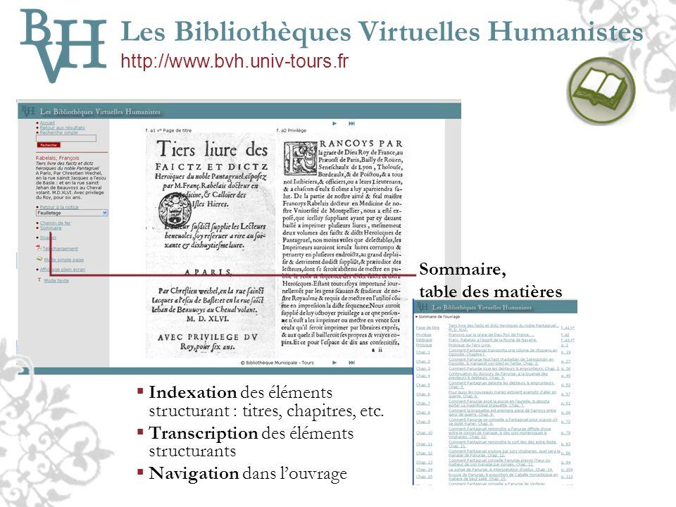 Les Bibliothèques Virtuelles Humanistes http://www.bvh.univ-tours.fr Sommaire, table des matières Indexation des éléments structurant : titres, chapit