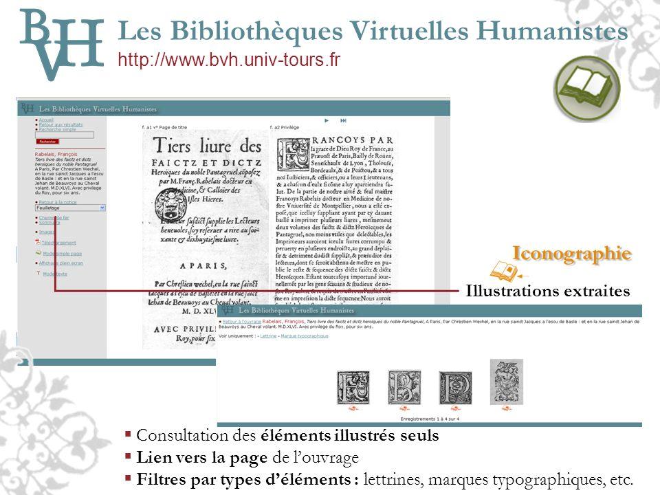 Les Bibliothèques Virtuelles Humanistes http://www.bvh.univ-tours.fr Illustrations extraites Consultation des éléments illustrés seuls Lien vers la pa