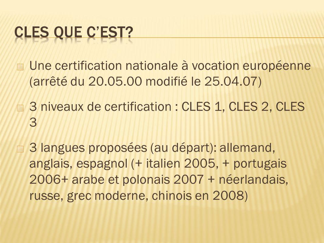 Une certification nationale à vocation européenne (arrêté du 20.05.00 modifié le 25.04.07) 3 niveaux de certification : CLES 1, CLES 2, CLES 3 3 langues proposées (au départ): allemand, anglais, espagnol (+ italien 2005, + portugais 2006+ arabe et polonais 2007 + néerlandais, russe, grec moderne, chinois en 2008)