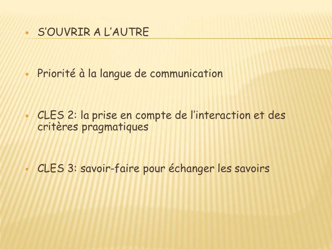 SOUVRIR A LAUTRE Priorité à la langue de communication CLES 2: la prise en compte de linteraction et des critères pragmatiques CLES 3: savoir-faire pour échanger les savoirs