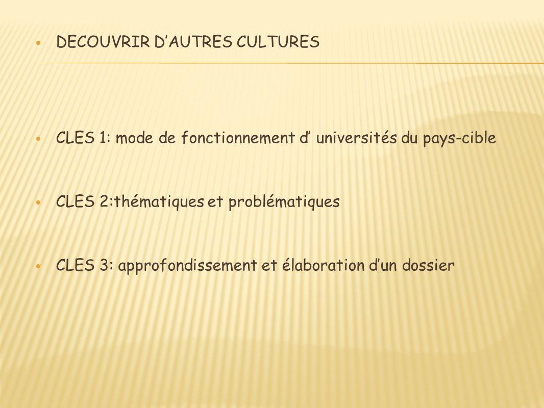 DECOUVRIR DAUTRES CULTURES CLES 1: mode de fonctionnement d universités du pays-cible CLES 2:thématiques et problématiques CLES 3: approfondissement et élaboration dun dossier
