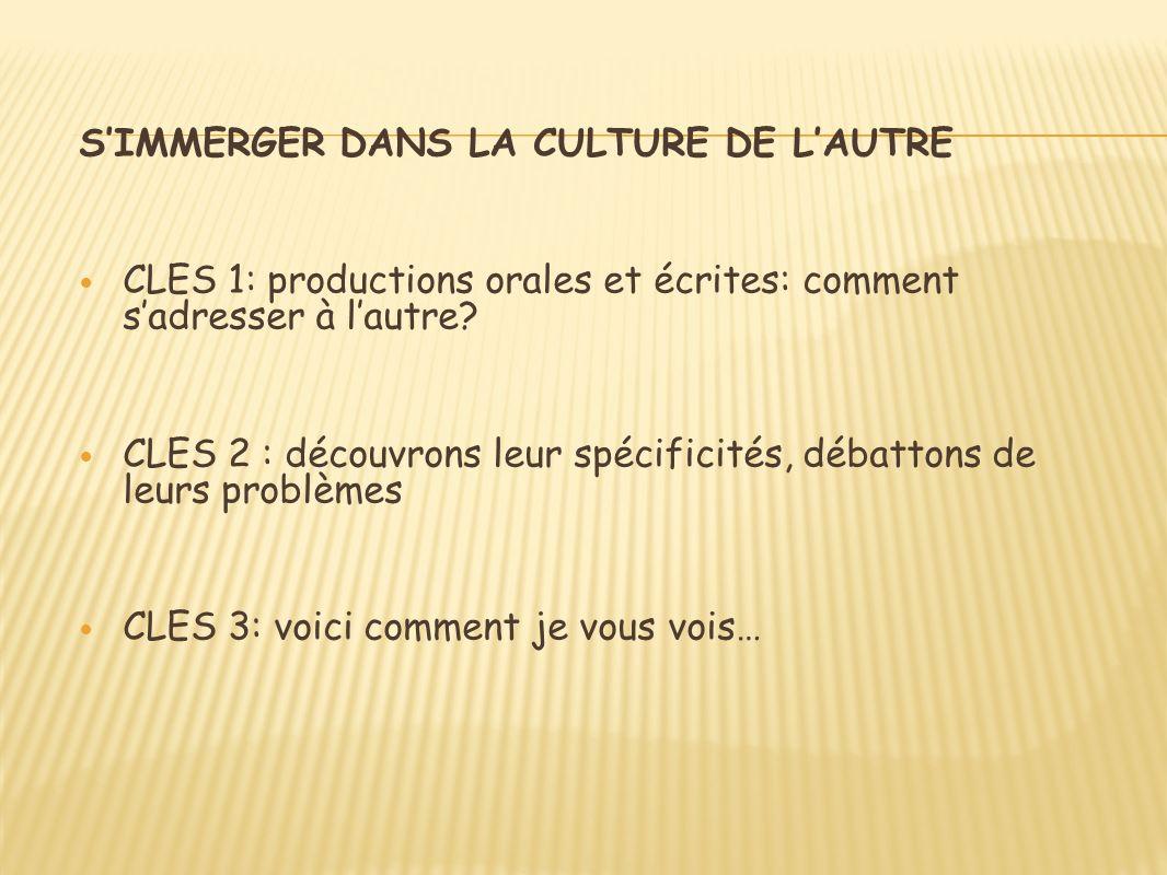SIMMERGER DANS LA CULTURE DE LAUTRE CLES 1: productions orales et écrites: comment sadresser à lautre.