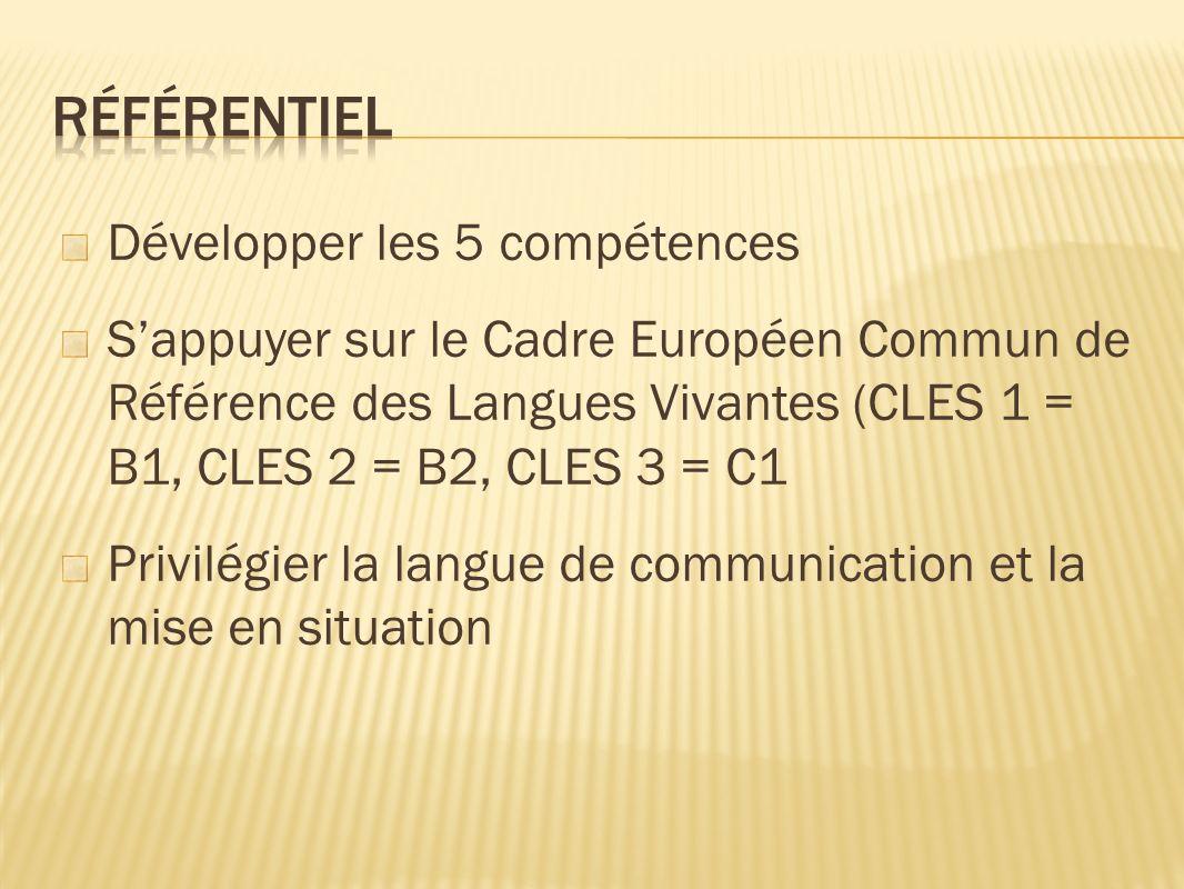 Développer les 5 compétences Sappuyer sur le Cadre Européen Commun de Référence des Langues Vivantes (CLES 1 = B1, CLES 2 = B2, CLES 3 = C1 Privilégier la langue de communication et la mise en situation