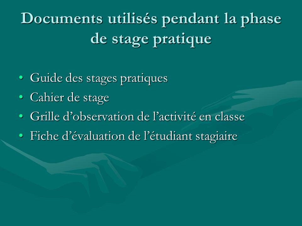 Documents utilisés pendant la phase de stage pratique Guide des stages pratiquesGuide des stages pratiques Cahier de stageCahier de stage Grille dobse