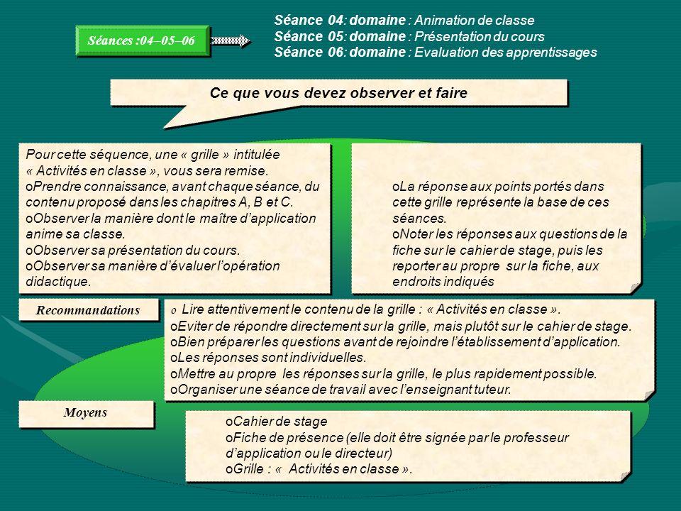 Séances :04–05–06 Séance 04: domaine : Animation de classe Séance 05: domaine : Présentation du cours Séance 06: domaine : Evaluation des apprentissag