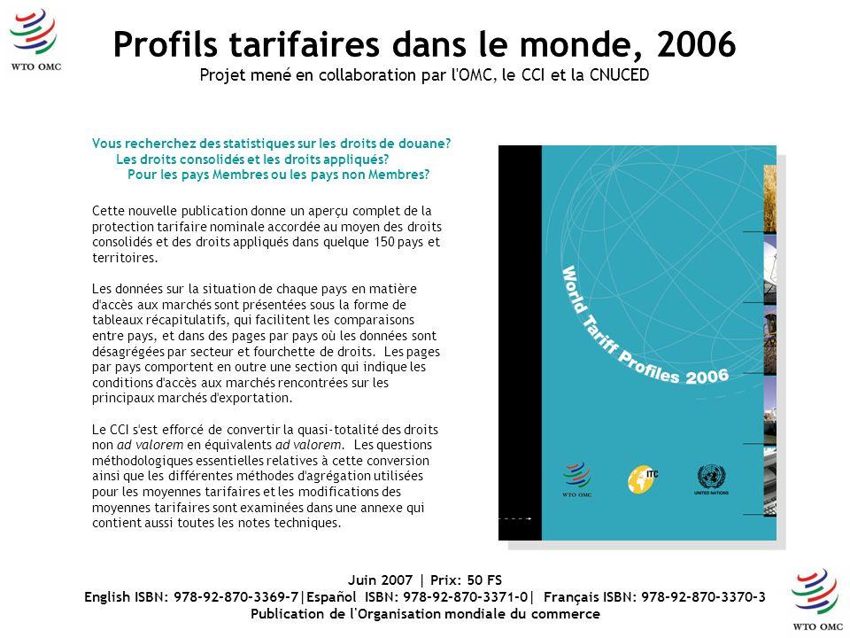 Vous recherchez des statistiques sur les droits de douane? Les droits consolidés et les droits appliqués? Pour les pays Membres ou les pays non Membre