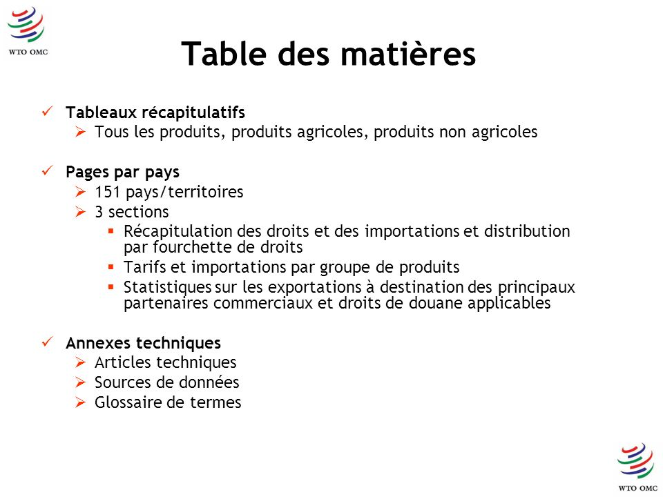Table des matières Tableaux récapitulatifs Tous les produits, produits agricoles, produits non agricoles Pages par pays 151 pays/territoires 3 section