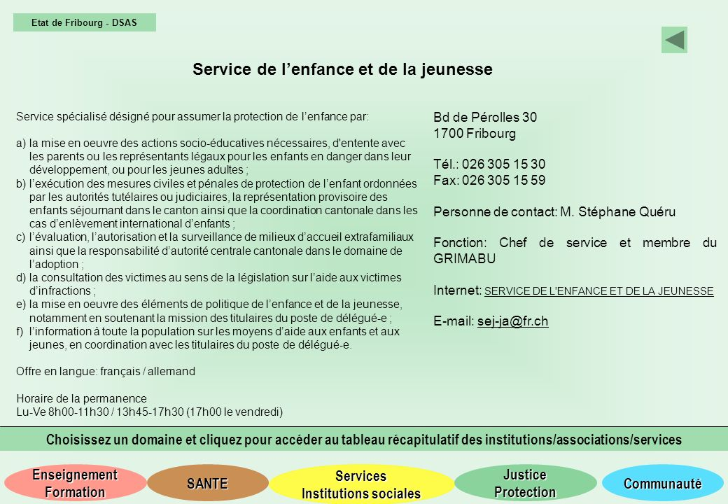 Services Institutions sociales Services Institutions sociales SANTE Justice Protection Justice Protection Communauté Enseignement Formation Enseigneme