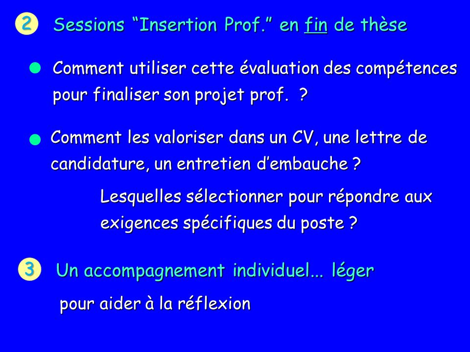 2 Sessions Insertion Prof.