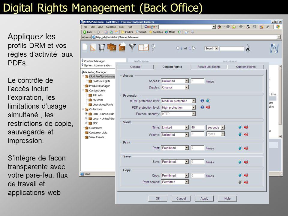 Appliquez les profils DRM et vos règles dactivité aux PDFs.