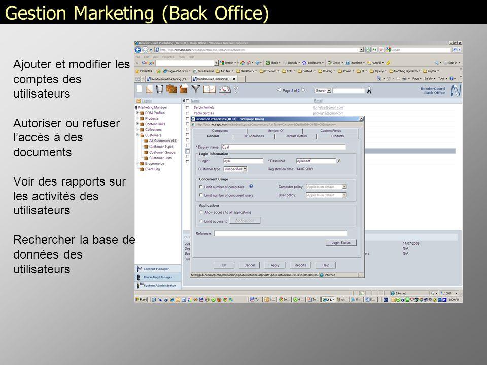 Gestion Marketing (Back Office) Ajouter et modifier les comptes des utilisateurs Autoriser ou refuser laccès à des documents Voir des rapports sur les activités des utilisateurs Rechercher la base de données des utilisateurs