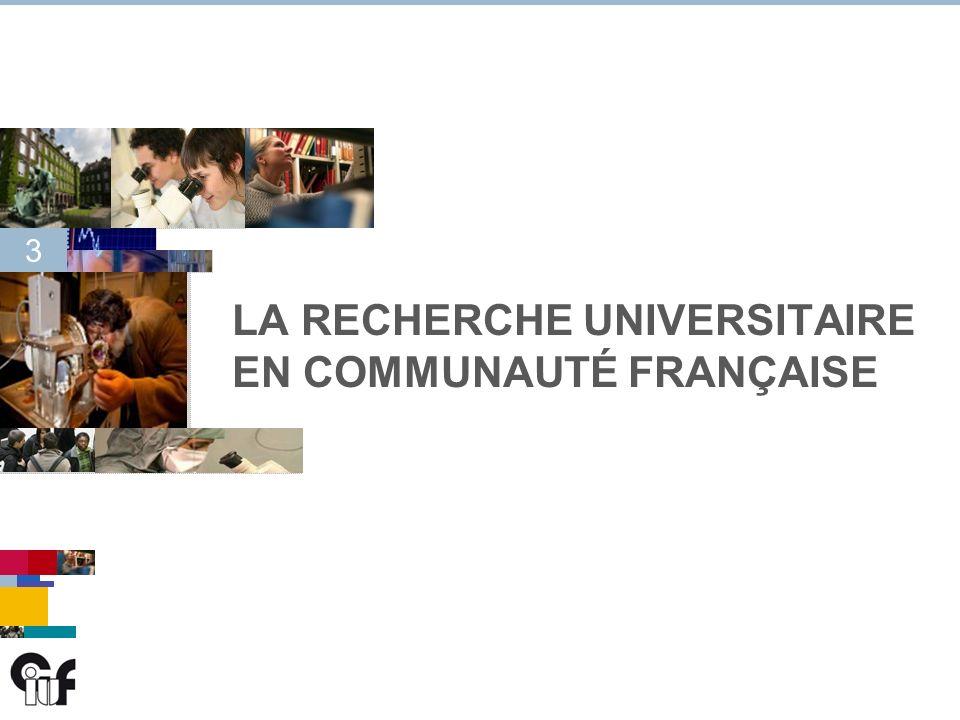 3 3 LA RECHERCHE UNIVERSITAIRE EN COMMUNAUTÉ FRANÇAISE