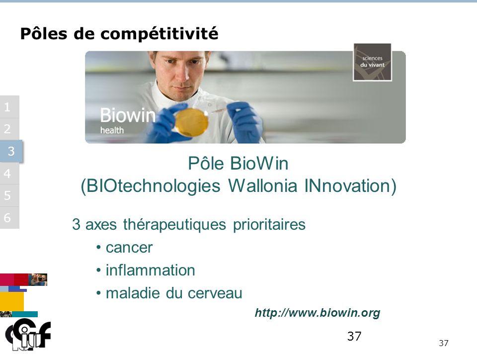5 3 3 6 1 2 4 37 Pôle BioWin (BIOtechnologies Wallonia INnovation) http://www.biowin.org Pôles de compétitivité 3 axes thérapeutiques prioritaires cancer inflammation maladie du cerveau