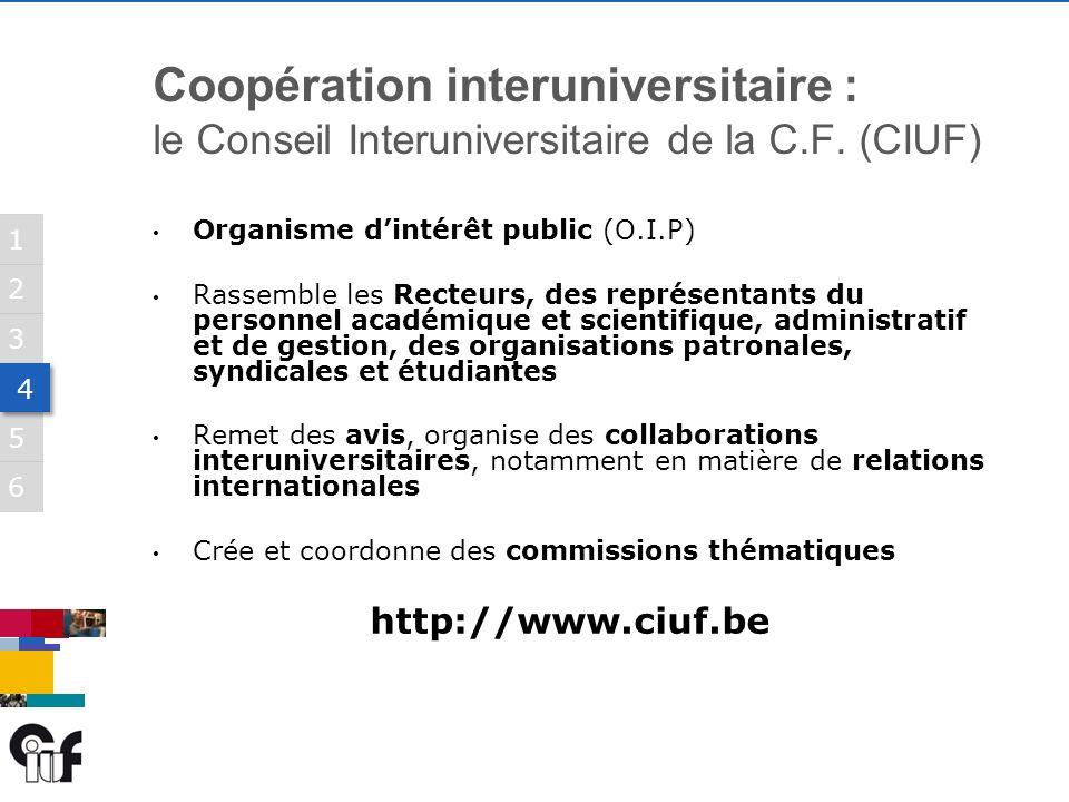 5 3 6 1 2 4 4 Coopération interuniversitaire : le Conseil Interuniversitaire de la C.F.