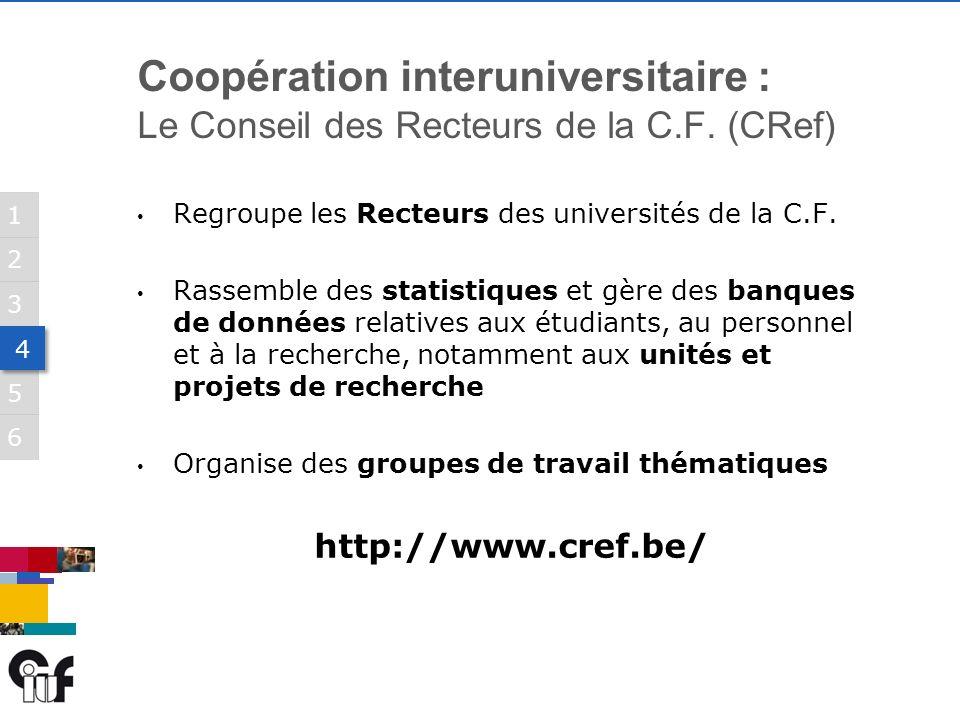 5 3 6 1 2 4 4 Regroupe les Recteurs des universités de la C.F.