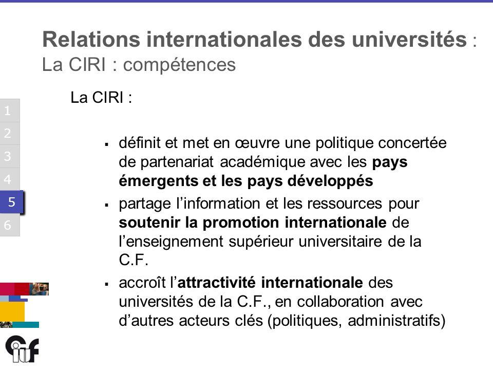 5 5 3 6 1 2 4 5 5 3 6 1 2 4 5 5 3 6 1 2 4 5 5 3 6 1 2 4 5 5 3 6 1 2 4 5 5 3 6 1 2 4 Relations internationales des universités : La CIRI : compétences La CIRI : définit et met en œuvre une politique concertée de partenariat académique avec les pays émergents et les pays développés partage linformation et les ressources pour soutenir la promotion internationale de lenseignement supérieur universitaire de la C.F.