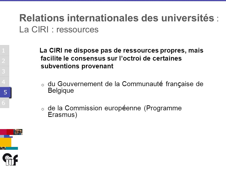 5 5 3 6 1 2 4 5 5 3 6 1 2 4 5 5 3 6 1 2 4 5 5 3 6 1 2 4 5 5 3 6 1 2 4 5 5 3 6 1 2 4 La CIRI ne dispose pas de ressources propres, mais facilite le consensus sur loctroi de certaines subventions provenant o du Gouvernement de la Communaut é fran ç aise de Belgique o de la Commission europ é enne (Programme Erasmus) Relations internationales des universités : La CIRI : ressources