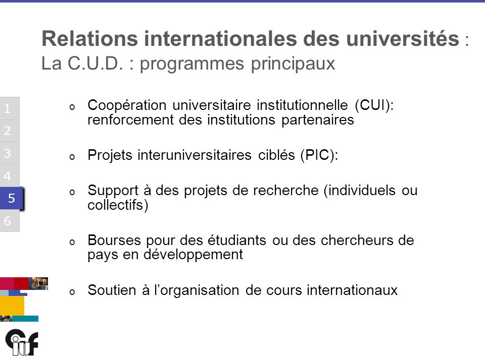 5 5 3 6 1 2 4 5 5 3 6 1 2 4 5 5 3 6 1 2 4 5 5 3 6 1 2 4 5 5 3 6 1 2 4 5 5 3 6 1 2 4 Relations internationales des universités : La C.U.D.